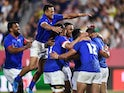 Samoa players celebrate their third try scored by Ed Fidow on September 24, 2019