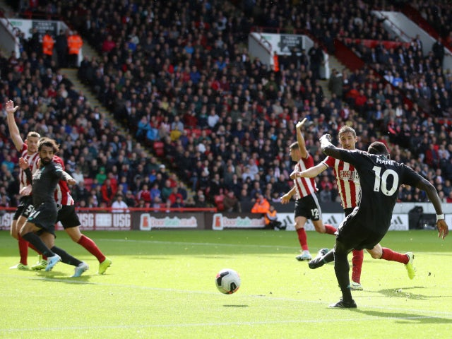 Liverpool's Sadio Mane misses a close-range chance against Sheffield United in the Premier League on September 28, 2019.