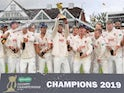 Essex celebrate winning the County Championship on September 26, 2019