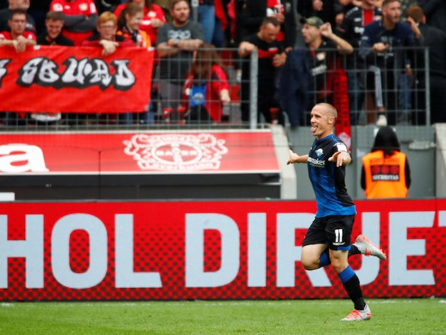 Paderborn's Sven Michel celebrates scoring against Bayer Leverkusen in the Bundesliga on August 17, 2019