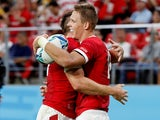 Wales' Liam Williams celebrates scoring their fourth try against Georgia on September 23, 2019