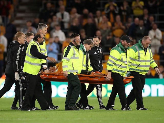 Wolverhampton Wanderers' Bruno Jordao is stretchered off after sustaining an injury on September 25, 2019
