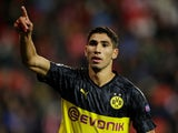 Achraf Hakimi celebrates scoring for Dortmund on October 2, 2019