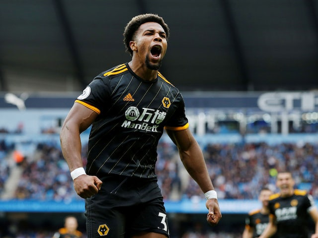 Adama Traore celebrates scoring for Wolves on October 6, 2019