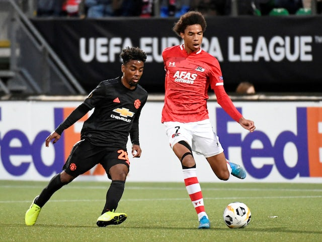 Manchester United's Angel Gomes in action with AZ's Calvin Stengs in the Europa League on October 3, 2019