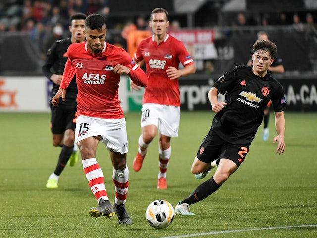 Manchester United's Daniel James in action with AZ's Owen Wijndal in the Europa League on October 3, 2019
