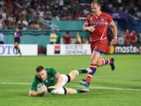 Ireland's Andrew Conway scores their fourth try against Russia on October 3, 2019