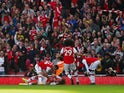 Arsenal defender David Luiz celebrates with teammates after scoring against Bournemouth on October 6, 2019