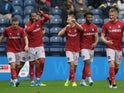 Bristol City's Andreas Weimann celebrates scoring their second goal with team mates in September 2019