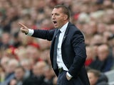 Leicester City manager Brendan Rodgers gestures on his return to Anfield on October 5, 2019