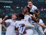 Chelsea's Willian celebrates scoring their second goal with Tammy Abraham, Cesar Azpilicueta, Mason Mount and team mates on October 2, 2019