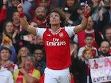 David Luiz celebrates scoring for Arsenal on October 6, 2019