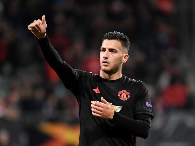 Diogo Dalot in action for Manchester United on October 3, 2019