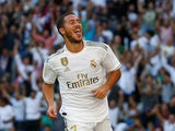 Eden Hazard celebrates scoring for Real Madrid on October 5, 2019