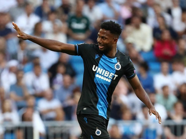 Emmanuel Dennis celebrates scoring for Club Brugge on October 1, 2019