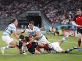 England's George Ford scores their fourth try against Argentina on October 5, 2019