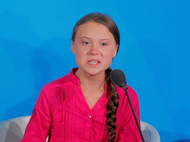 Greta Thunberg gives a speech on September 23, 2019