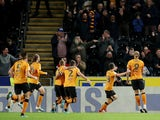 Hull City's Tom Eaves celebrates scoring their first goal against Sheffield Wednesday on October 1, 2019