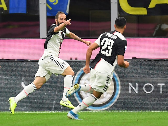 Gonzalo Higuain celebrates scoring their second goal on October 6, 2019