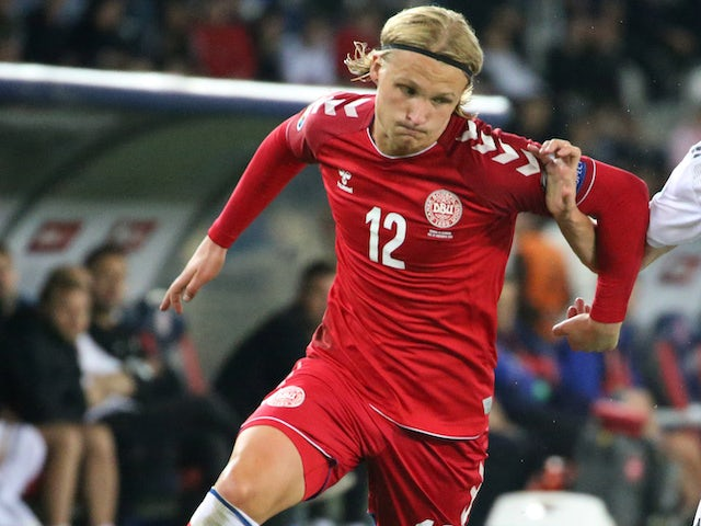 Kasper Dolberg in action for Denmark on September 8, 2019