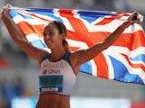 Katarina Johnson-Thompson celebrates winning World Championships gold on October 3, 2019