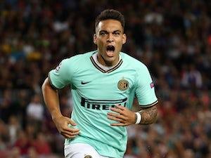 Lautaro Martinez celebrates scoring for Inter Milan on October 2, 2019