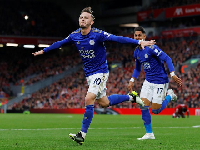 Leicester City's James Maddison celebrates scoring their first goal with Ayoze Perez on October 5, 2019