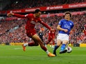 Liverpool's Trent Alexander-Arnold in action with Leicester City's Caglar Soyuncu
