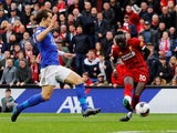 Liverpool's Sadio Mane scores their first goal against Leicester on October 5, 2019