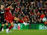 Liverpool's Mohamed Salah scores their fourth goal against Red Bull Salzburg on October 2, 2019