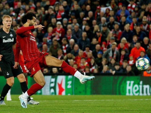 Liverpool's Mohamed Salah scores their fourth goal against Red Bull Salzburg on October 2, 2019