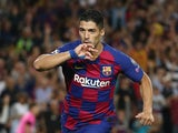 Luis Suarez celebrates scoring for Barcelona on October 2, 2019