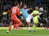 Manchester City's Sergio Aguero in action with GNK Dinamo Zagreb's Dominik Livakovic on October 1, 2019