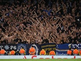 General view of GNK Dinamo Zagreb fans during the match against Manchester City on October 1, 2019
