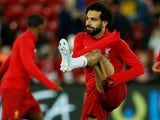 Mohamed Salah warms up for Liverpool on October 2, 2019