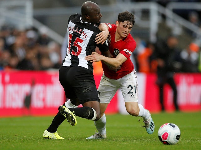 Manchester United's Daniel James in action with Newcastle United's Jetro Willems in the Premier League on October 6, 2019