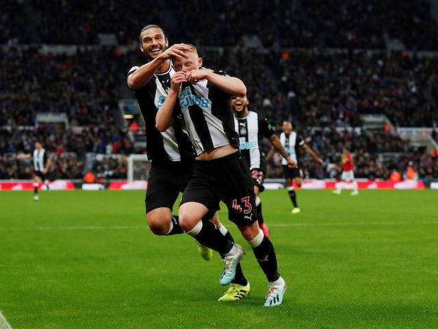 Newcastle United's Matty Longstaff celebrates scoring against Manchester United in the Premier League on October 6, 2019