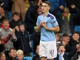 Phil Foden celebrates scoring late on for Manchester City on October 1, 2019