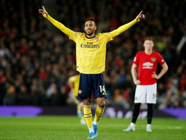 Pierre-Emerick Aubameyang celebrates equalising for Arsenal on September 30, 2019