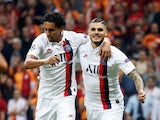 Paris Saint-Germain's Mauro Icardi celebrates scoring their first goal with teammate Marquinhos on October 1, 2019