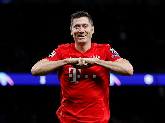 Robert Lewandowski celebrates scoring for Bayern Munich on October 1, 2019
