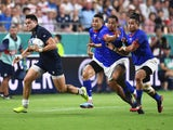 Scotland's Sean Maitland scores their first try against Samoa at the Rugby World Cup on September 30, 2019