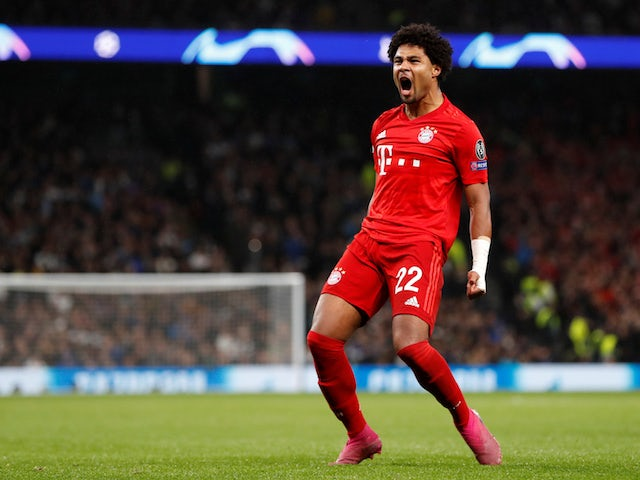 Bayern Munich's Serge Gnabry celebrates scoring their third goal against Tottenham on October 1, 2019