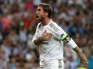 Sergio Ramos celebrates scoring for Real Madrid on October 1, 2019