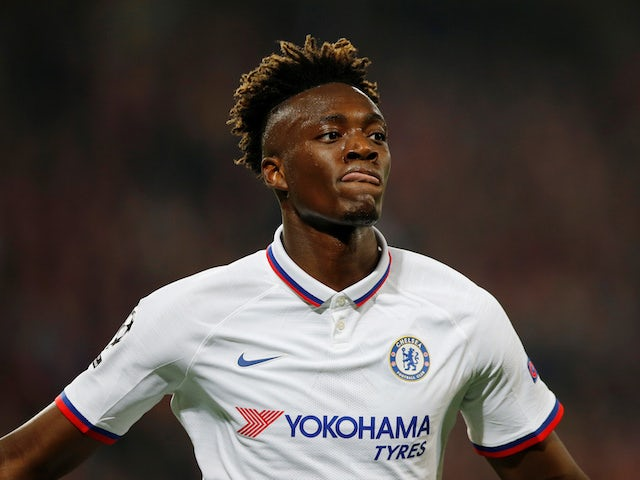 Tammy Abraham celebrates scoring for Chelsea on October 2, 2019