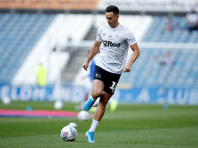 Tom Lawrence in action for Derby County on August 5, 2019