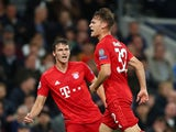 Bayern Munich's Joshua Kimmich celebrates scoring their first goal against Tottenham Hotspur on October 1, 2019