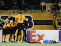 Young Boys' Christian Fassnacht celebrates scoring their second goal with teammates on October 3, 2019