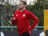 Aaron Ramsey in action during a Wales training session on October 9, 2019