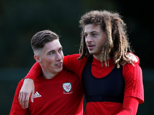 Wales' Harry Wilson and Ethan Ampadu during training on October 9, 2019